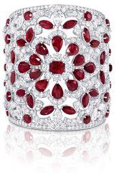 Graff ruby and diamond cuff, rubies, diamonds, cuffs, bracelets, bangles, jewelr...