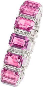 Pink Topaz, Diamond, White Gold Bracelet.