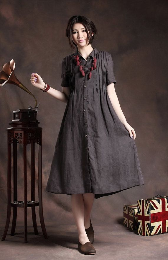 Almost GONE- Linen dress, Shirt Dress in Charcoal, button down Linen Dress, Shift Dress with tucks, Gray Kaftan Dress | Linennaive