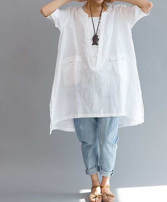 Loose Fitting Plus Size Linen Shirt Blouse for Women(C)  - Off-White - Women Clothing (SY006)(M-3XL)