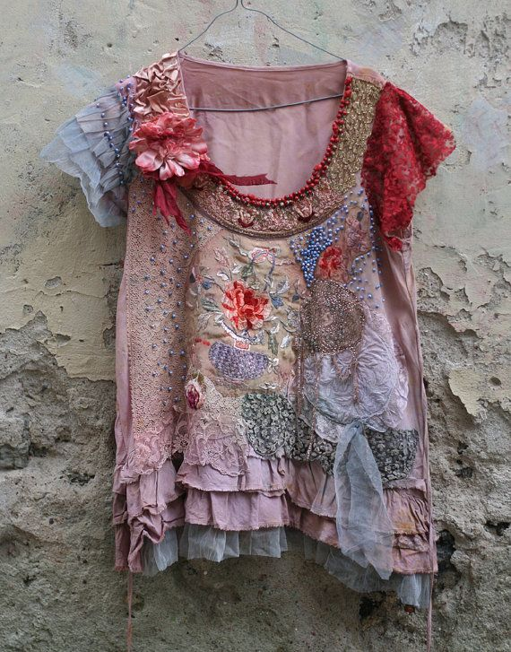 RESERVED TO B.B.--- Peony--romantic embroidered tunic, top, textile collage, wearable art, hand dyed, hand beaded and embroidered details,
