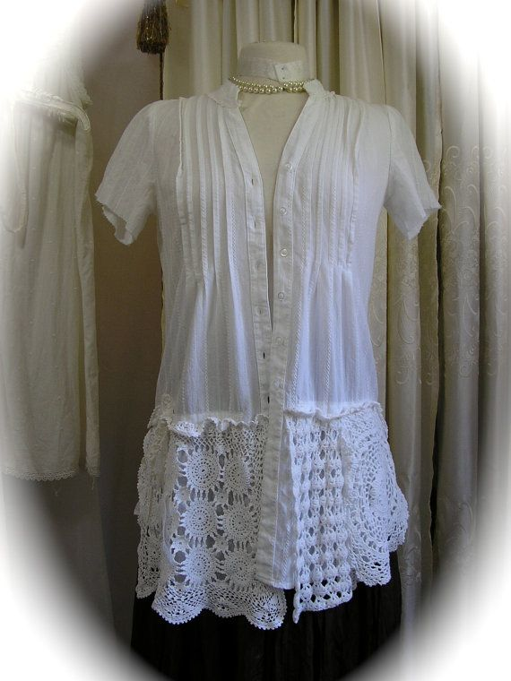 White Doily Lace Blouse, romantic lagenlook cotton shirt top, refashioned clothing, shabby n chic, layered doilies, altered womens MEDIUM