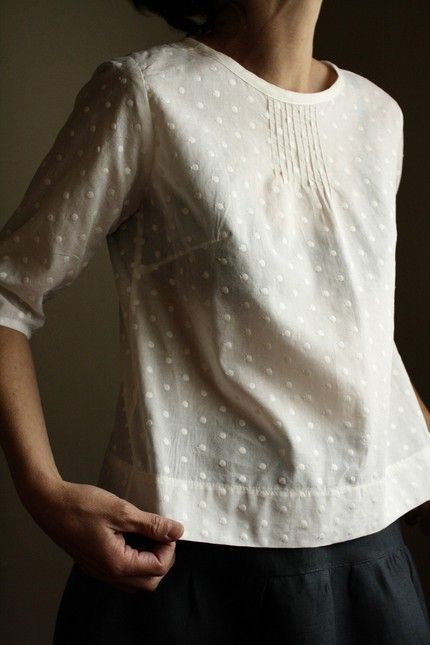 SALE pintuck blouse - ivory polkadot (xs)